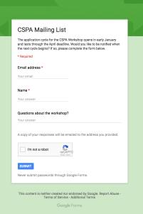 CSPA Mailing List Google Form